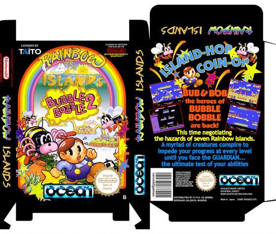 RAINBOW ISLANDS BUBBLE BOBBLE 2 PAL ESP caja retro repro nintendo nes 8 bit