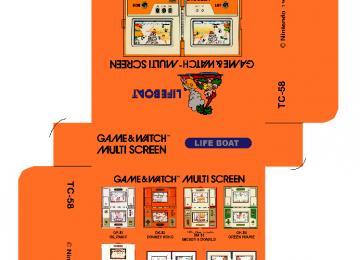 LIFE BOAT TC-58 caja plantilla game watch retro repro box