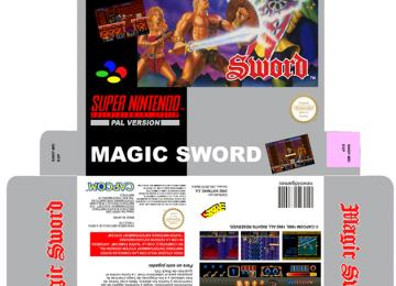 MAGIC SWORD CAJA PAL ESPAÑA SNES SUPER NINTENDO REPRO RETRO BOX PORTRAIT PLANTILLA